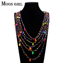 8 color Bohemia style beads pendant Choker necklace ethnic Fashion jewelry multilayer Rope chain statement necklace for women