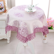 Flower Restaurant Multisize court violet floral fabric European tablecloth banquet purple lace wedding vintage checks rectangle