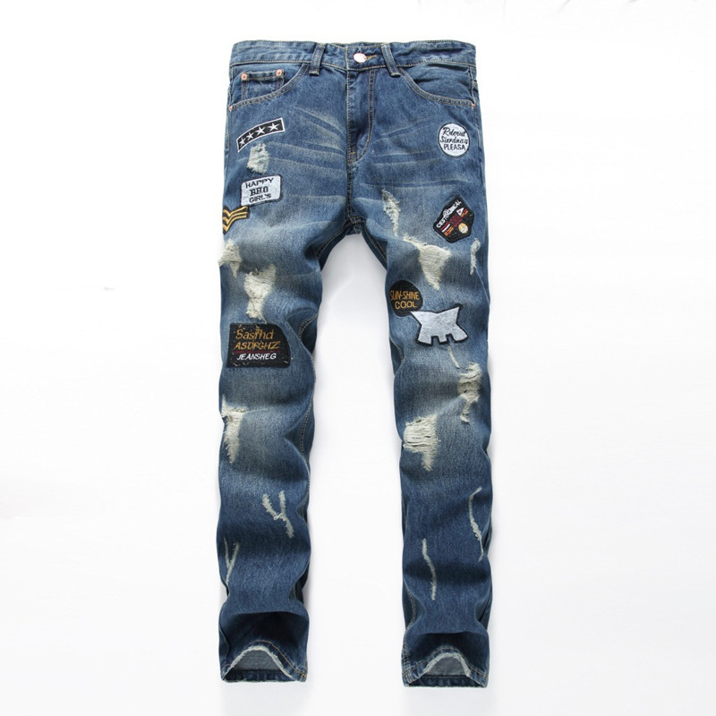 High quality Patches mens jeans hole Casual ripped jeans men hiphop pants Straight jeans for men denim trousersÎäåæäà è àêñåññóàðû<br><br>