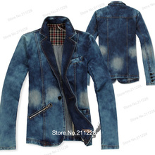 XXXL  Spring Fall Fashion Men's Slim Fit  Blue Denim Jacket , Casual Jean Coats  Blazer , Formal Dress Blazers For Men