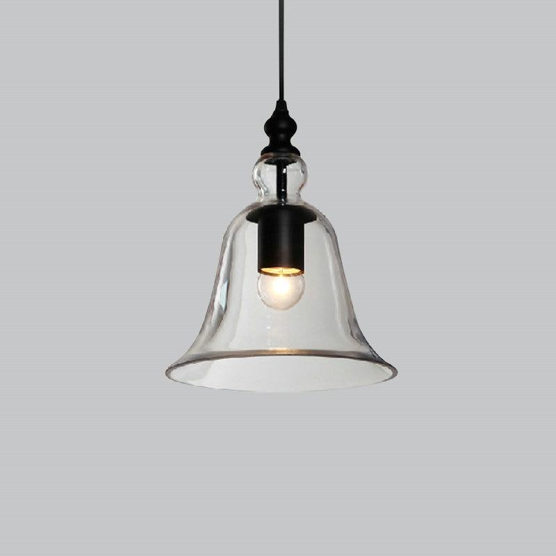 Vintage Pendant Lights Clear Glass Hanging Bell Pendant Lamp E27 Edison Light Bulb for Dinning Room Home Decoration Planetarium<br>