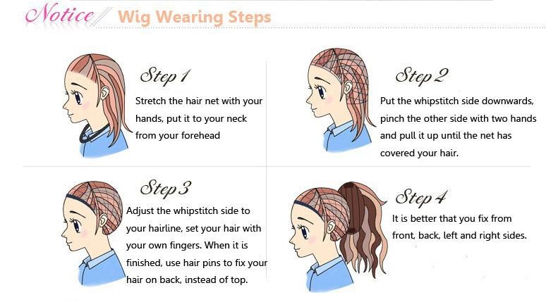 wig wearing steps