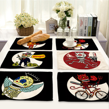 42x32cm Skull patterns Cotton Linen Western Pad Placemat Insulation Dining Table Mat Bowls Coasters Kitchen Accessories