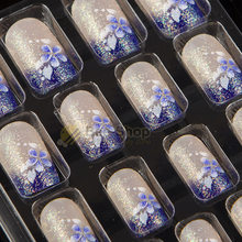 Full Sizes 24pcs Acrylic Full Cover Nail Tips False Nail Art With Glue Pre Designed Fake Nail Tips Artificial Nails Designs 293