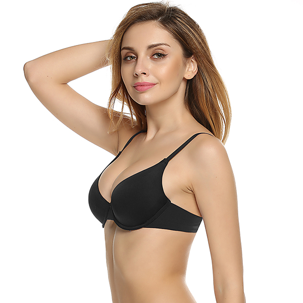 Ekouaer Women Push Up Bra Underwear Backless Intimates Underwire Memory Foam Solid 3/4 Cup A B C D E Soft Bra Charming Sexy Bras 4
