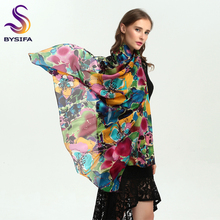 [BYSIFA] Brand Blue Green Silk Scarf Shawl Female Accessories Spring Autumn Floral Pattern 100% Silk Women Long Scarves Wraps(China)