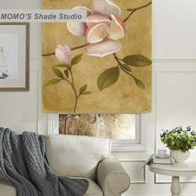 MOMO Thermal Insulated Blackout Fabric Custom Painting Window Curtains Roller Shades Blinds,PRB set483-488