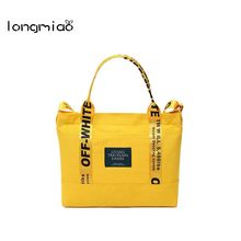 longmiao Canvas Letter Printing Handbags Famous Designer Shoulder Bag Casual Ladies Tote Crossbody Shopping Bags Bolsa Mujer(China)