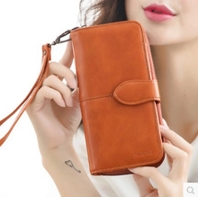 European and American style vintage women wallet with wrist large capacity women pu leather purse female brand wallet clutch