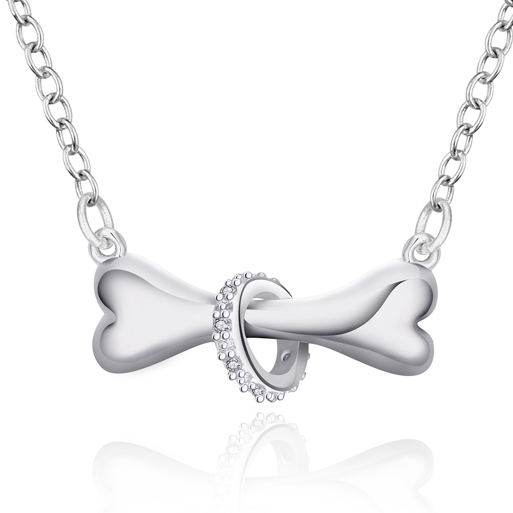 Dog-bone-Pendant-Necklace-Silver-plated-Necklace-18-inches-length-Link-chain-Fashion-Necklace-for-Women