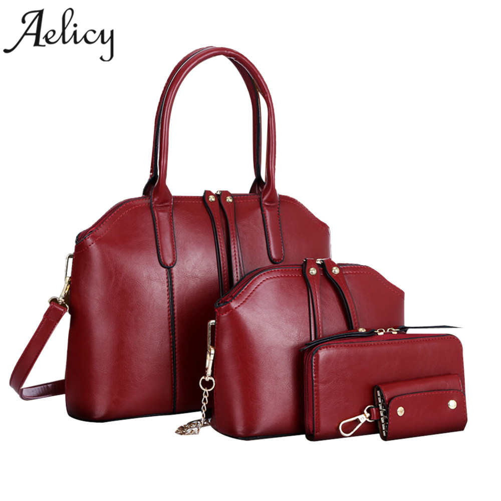 Aelicy 4pcs/set Women PU Leather Shoulder Bag Fashion Tote Purse Messenger luxury handbags women bags designer high quality<br>