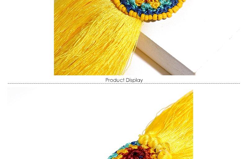 BTSETS Women Fringed Tassel Earrings Bohemian Bijoux Statement Earring Cheap Handmade Yellow Color Long Dangle Drop Earrings (3)