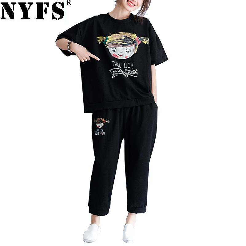 NYFS 2019 New Summer Women Suits Loose Women Set Washing cowboy Cartoon doll print 2 Piece Set Women