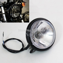 Free shipping Metal Aluminum Black Headlamps Headlight For Harley Chopper Motorcycles Custom