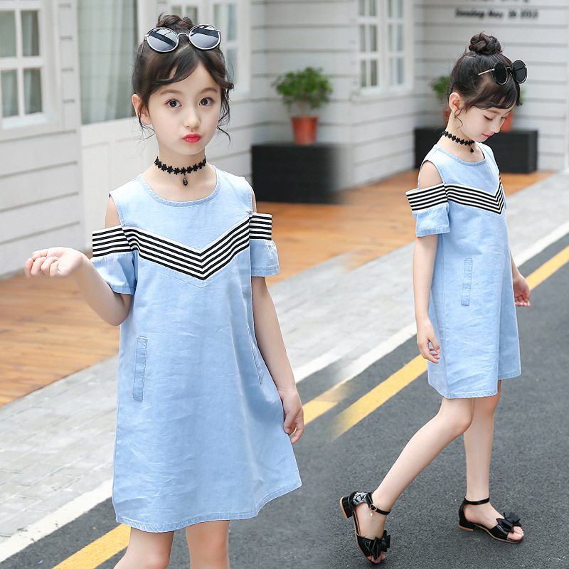 UK Girls Summer Stripe Dress Age 3 4 5 6 7 8 Years Pretty Party Outfit Clothes