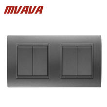 MVAVA 16A 110~250V 220V 4 Gang Double Electrical Wiring Push Button Light Wall Switch Fire Retardant PC Panel Free Shipping
