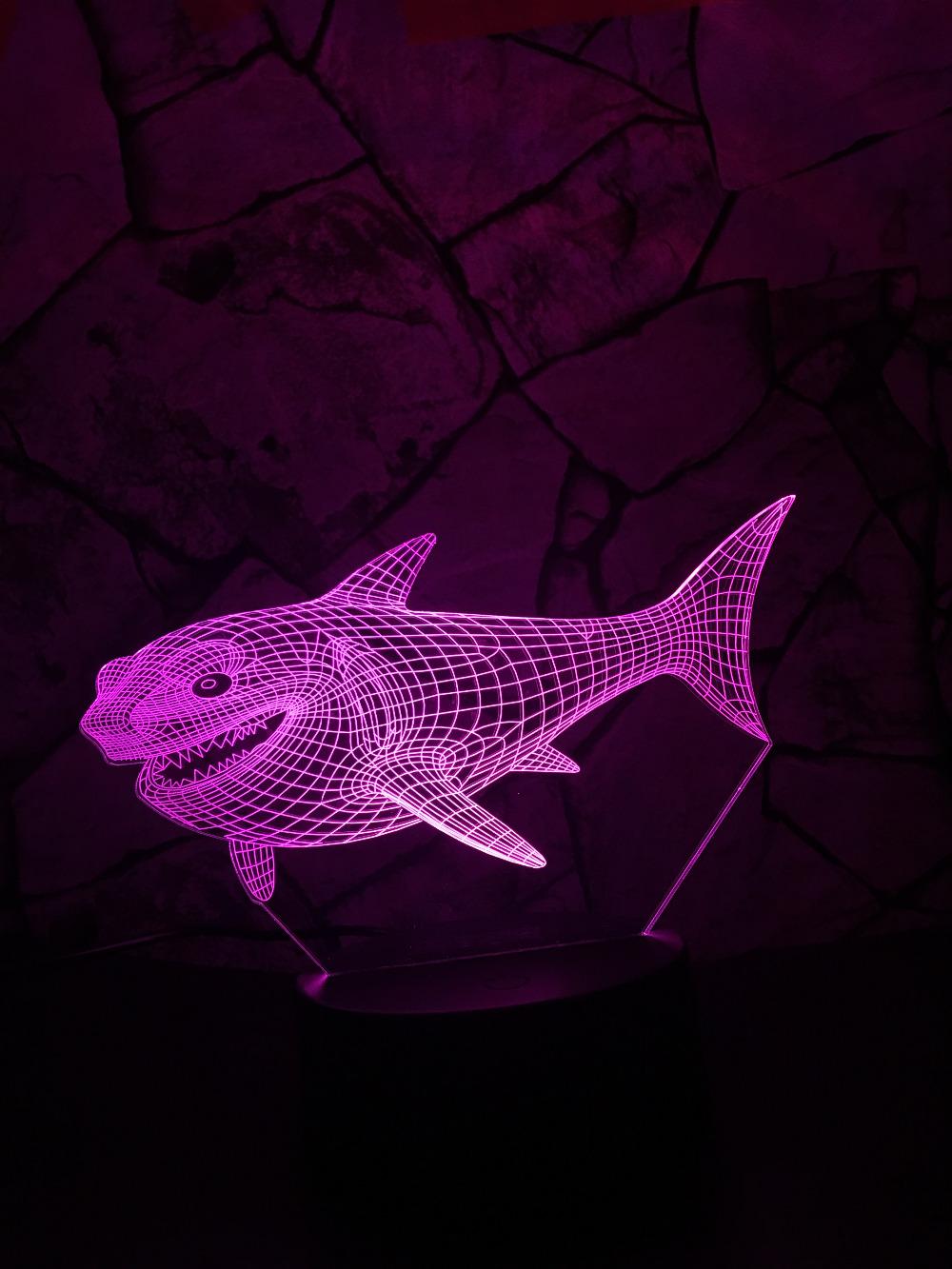 """Glow Shark"" 3D Optical Illusion Glowing Shark Table Lamp 1"