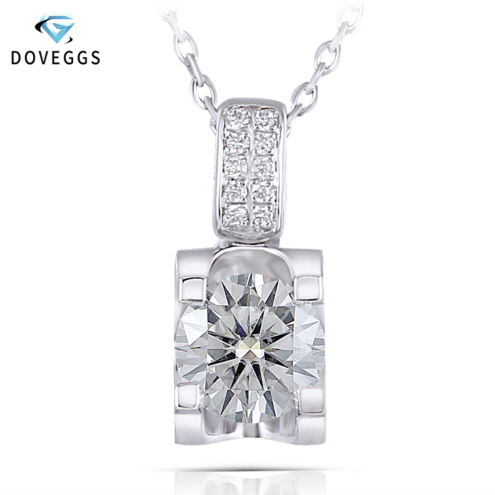DovEggs Platinum Plated Silver Moissanite Pendant Necklace for Women Center 1ct 6.5mm GH Color Moissanite Necklace with Accents