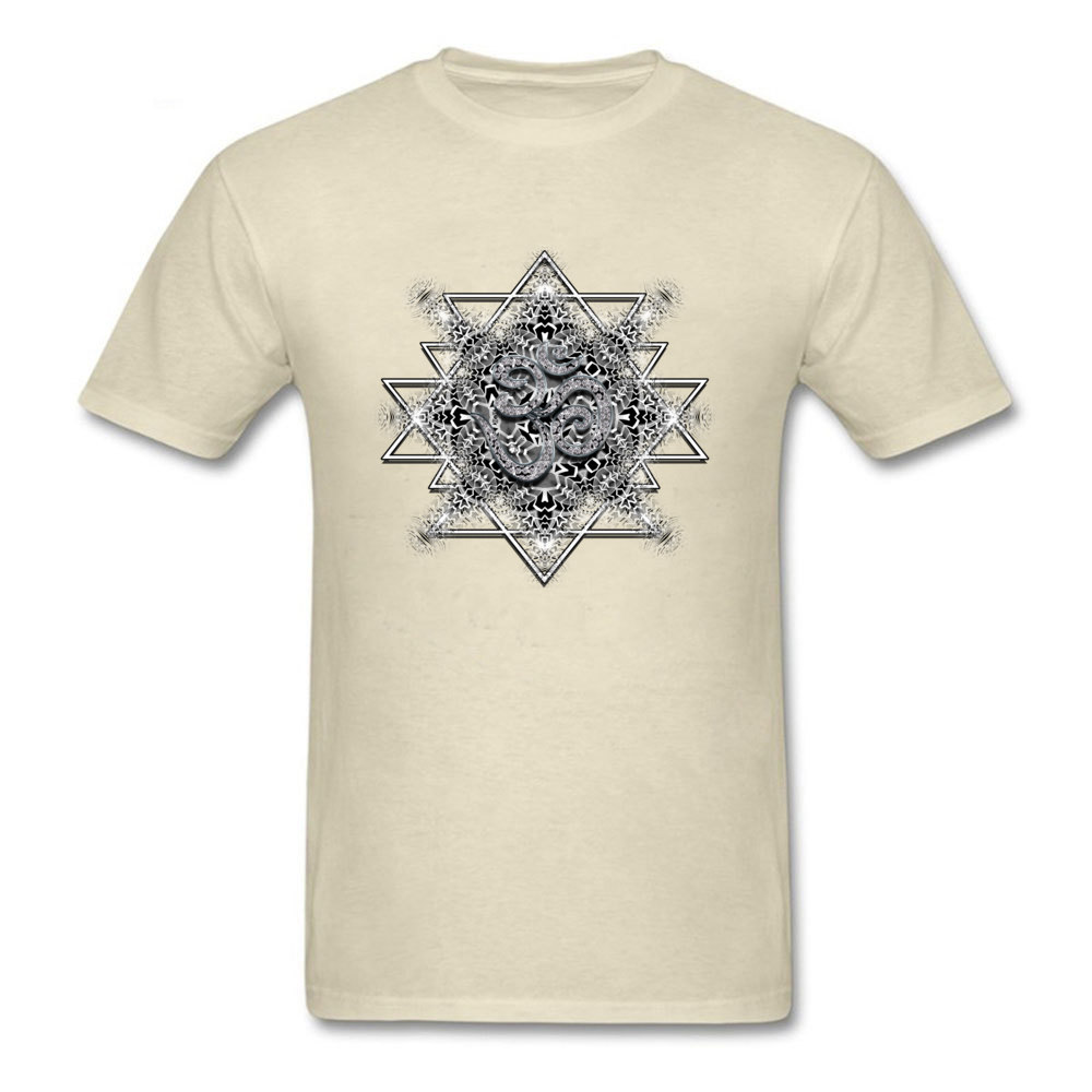 T Shirt Clothing Shirt OM Tribal Geometry VALENTINE DAY Short Sleeve 100% Cotton Round Neck Men T Shirts Printed On Retro OM Tribal Geometry beige
