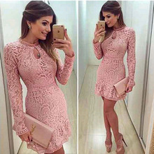 Women Elegant Print Dress Party Sexy Night Club Pink Short Dress O-Neck Long Sleeve Sheath Bodycon Lace A-Line Dress Mini A4(China)