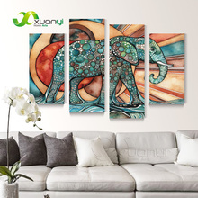 4 Panel Wall Art Abstract African Elephant Paintings Modern Print On Canvas Elephant Picture Oil Canvas For Living Room Unframed(China)