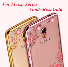 Luxury Diamond flowers Pattern Back Cover Soft TPU Phone Case For Meizu MX5 MX6 Pro6 M2 M3 M3s M5 M5s Mini Note Max U10 U20