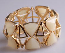 Free shipping wholesale high quality facet rhombus acryl convert triangle gold bracelets fashion Jewelry Women dress Bracelet(China)
