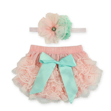 2016 Lace Newborn Ruffled Baby Bloomers Diaper Cover Headband Set,Newborn Ruffled Panties Baby Girls,Flower Infant Baby Shorts(China)