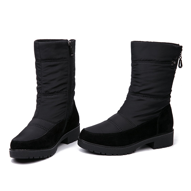 IMG_3964AIMEIGAO 2018 New Snow Boots For Women Winter Fur Warm Boots Waterproof Thick Bottom Flats Comfortable Heels Shoes