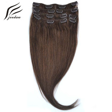 "jeedou Synthetic Hair 15"" 38cm 70g Clip In Hair Extensions 7Pcs/set Real Natural Black Blonde Color Hairpieces"