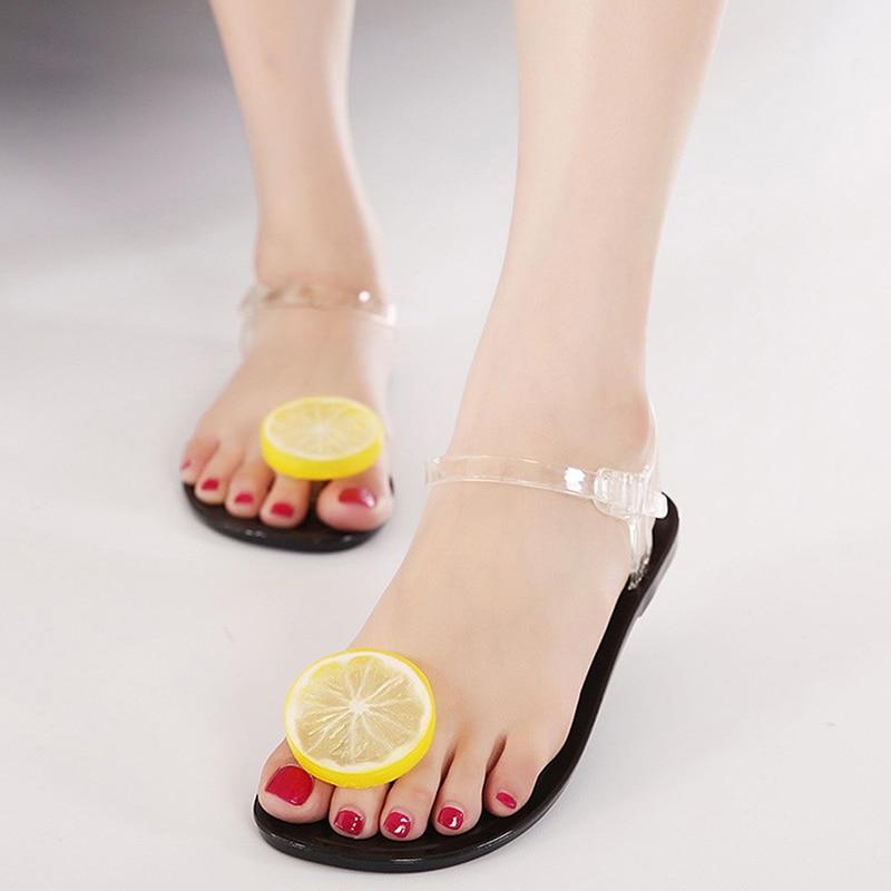 Women Jelly Sandals Shoes Cute Lemon Flip Flops Ladies Girls Flat Beach Sandals Fruit Flower Shoes Sandale Femme Sapato Feminino<br><br>Aliexpress