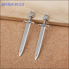 High Quality 5 Pieces/Lot 15mm*67mm Antique Silver Plated Diy Making Charm Sword Charms(China)