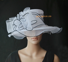 2017 NEW 4 colours White black Fashion organza hat church hat  Formal dress hat  for weddding races.FREE SHIPPING.