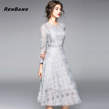 Buy RENBNAG 2018 Spring Summer Lace Dress Women Office Party Long Sleeve O-neck Sexy Hollow Casual Dress Ladies Vestidos for $25.39 in AliExpress store