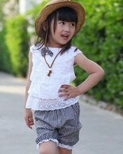 New Summer Style Baby Girls Clothing Set Lace T Shirt And Lattice Shorts Pants  Infant Garment Children Clothing  Set  For 1-4Y