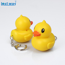LostWay Fashion LED New Yellow duck Sound Flashlight Keychains Alliance Key Ring Keyhoder Chaveiro gift For Friend