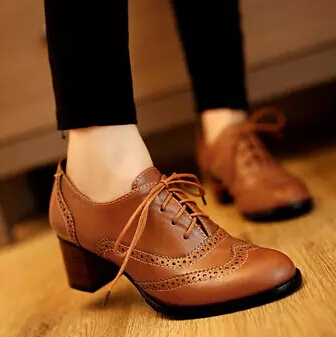 Black Brown Beige Hot New Fashion Vintage British Style Lace Up Thick Heel Oxford Shoes For Women Elegant Pumps Shoes Woman<br><br>Aliexpress