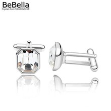 BeBella Crystal cufflinks men cufflink Made with Swarovski ELEMENTS for Father's Day gift(China)