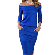 Fashion Club Clothing Summer Women Sexy Bodycon Dress Three Quarter Sleeve Slash Neck Dresses Casual Party Red Blue Black