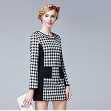 Europe and the United States of new fund of 2015 autumn is cultivate one's morality show thin grid color dress(China)