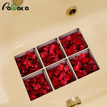 Creative 3D Anti Slip Bathtub Stickers 6 unids flowers natual series Tub Decals Appliques PVC Waterproof Decor wall Stickers(China)