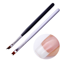 1Pc Acrylic French Tip Nail Brush UV Gel Painting Brush Black Silver Handle Nail Design Drawing Pen Nail Art Tool