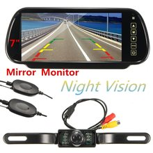 7 Inch Car Rearview Mirror Monitor + 2.4GHz Wireless Video Transmitter and Receiver Kit for IR Rear View Camera