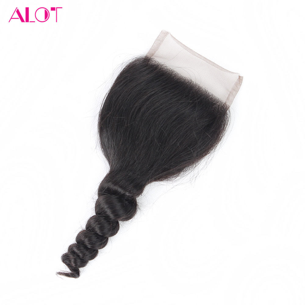 ALOT Hair Brazilian Loose Wave Closure Human Hair 4*4 Lace Closure Free Part With Baby Hair Non Remy 8-18 Inch Free Shipping(China)