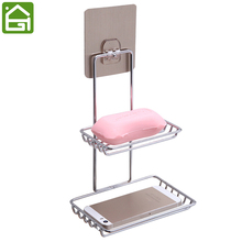 Self Adhesive Stainless Steel Soap Dish Storage Holder Bathroom Kitchen Wall Mount Sponge Draining Hanger Towel Hooks(China)