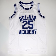 2016 New Banks Number 25 Bel-Air Academy Basketball Jersey Color White Good Quality Basketball Jersey For Free Shipping(China)