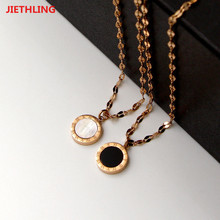 Rose Gold Color IP Vacuum Plating Stainless Steel White And Black Double Sides Pendant Lip Shape Chain Short Necklaces Bisuteria(China)