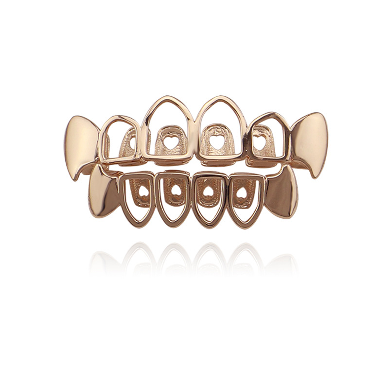 Factory Bottom Price Hollow Grillz Fashion Body Jewelry Hip Hop Teeth Grillz Gold Rose Gold Black Silver Color Tooth Grills Cap UK Bijoux (3)