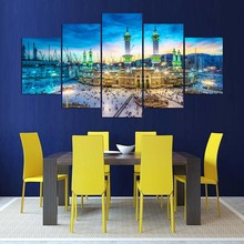 Abstract Canvas Painting Wall Art Islamic Muslims 5 Panel Art Wall Picture For Living Room Home Decoration Canvas Prints PENGDA
