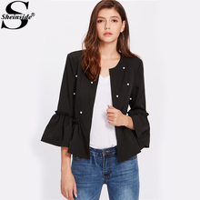 Sheinside Pearl Beaded Women Blazers and Jackets Long Flare Sleeve Frilled Hem Collarless Office Ladies Autumn Elegant Blazer(China)